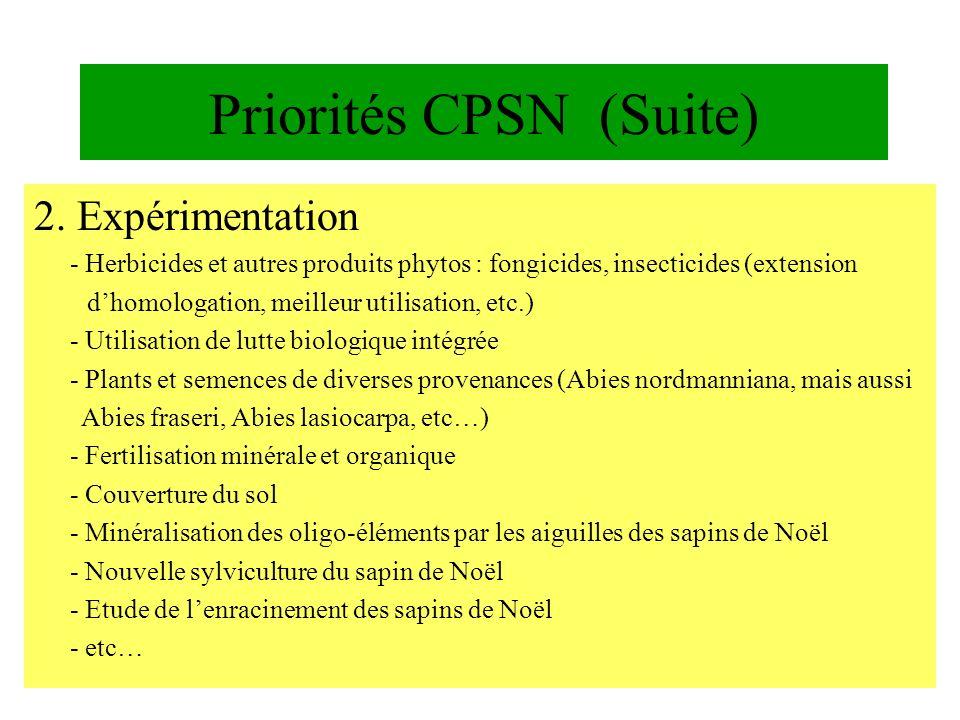 Priorités CPSN (Suite) 2. Expérimentation - Herbicides et autres produits phytos : fongicides, insecticides (extension dhomologation, meilleur utilisa