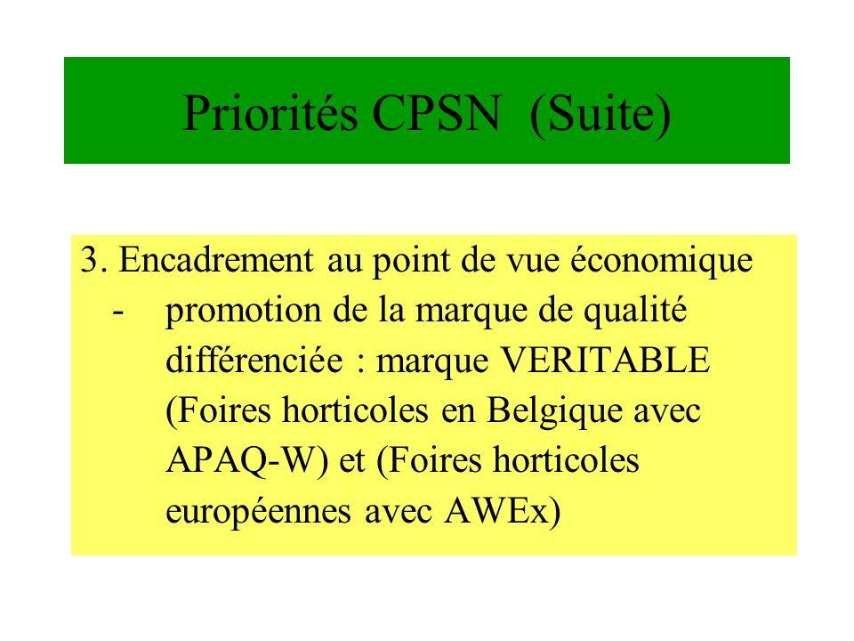 3. Encadrement au point de vue économique -promotion de la marque de qualité différenciée : marque VERITABLE (Foires horticoles en Belgique avec APAQ-