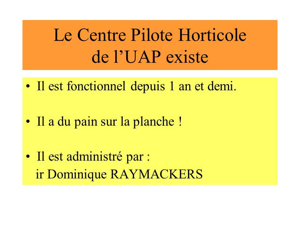 Le Centre Pilote Horticole de lUAP existe Il est fonctionnel depuis 1 an et demi. Il a du pain sur la planche ! Il est administré par : ir Dominique R