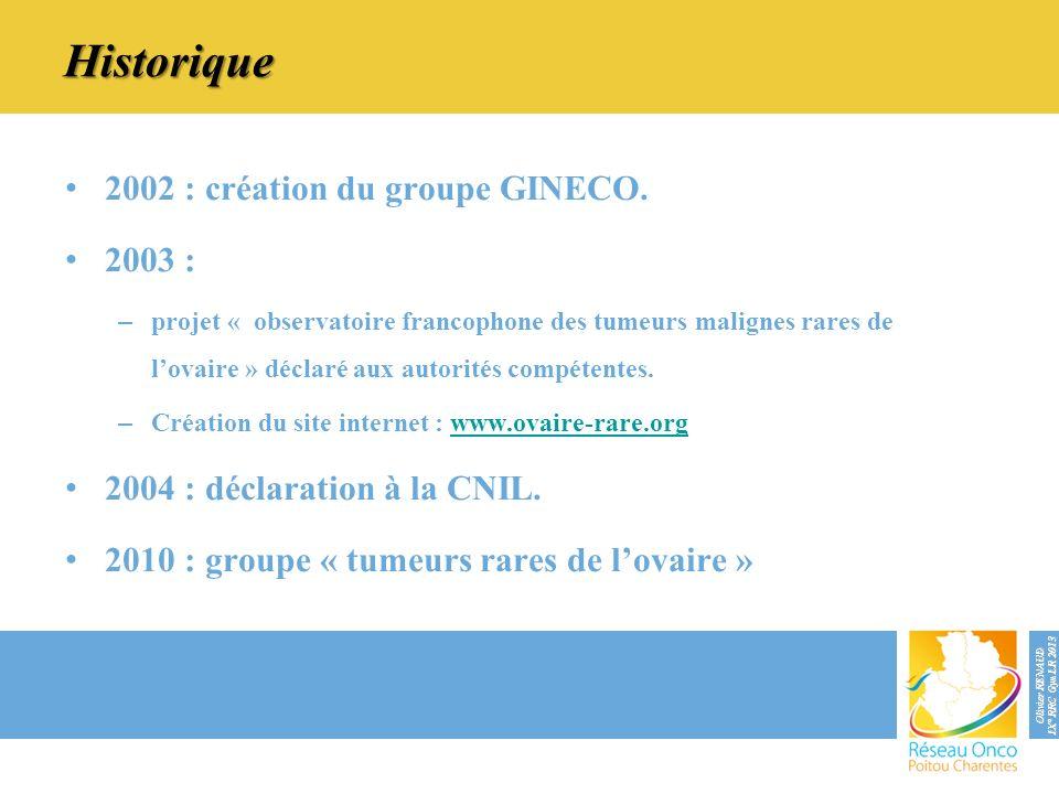 Historique 2002 : création du groupe GINECO. 2003 : – projet « observatoire francophone des tumeurs malignes rares de lovaire » déclaré aux autorités