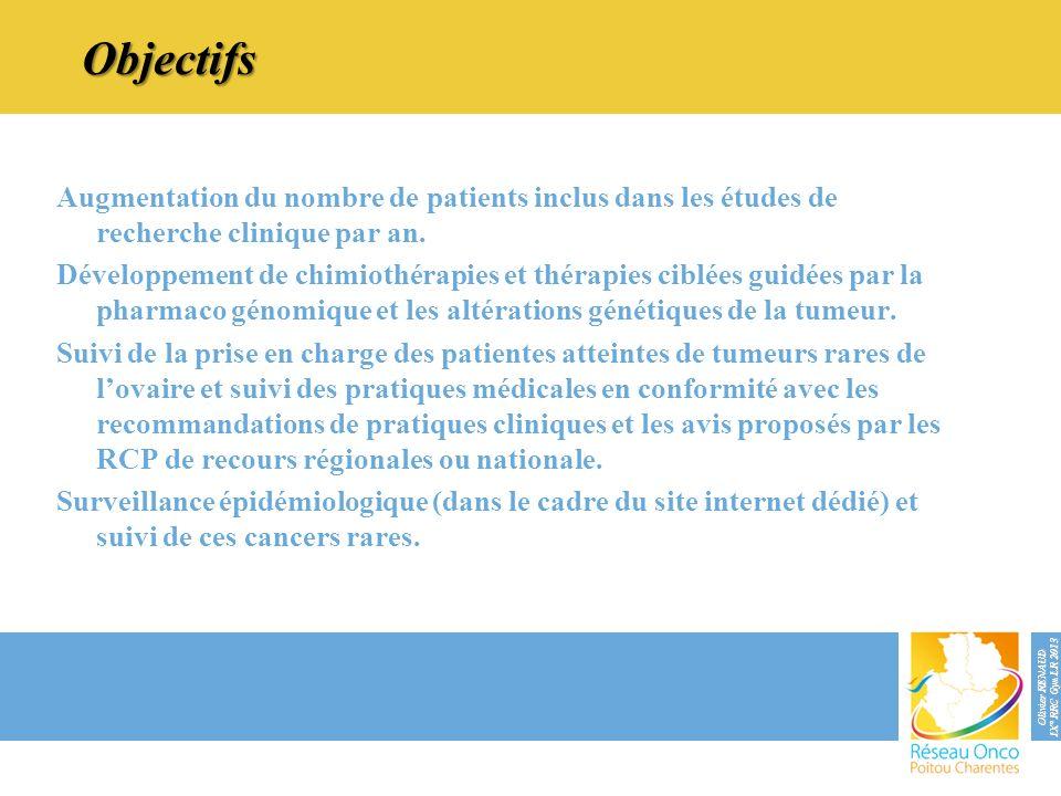 Objectifs Augmentation du nombre de patients inclus dans les études de recherche clinique par an. Développement de chimiothérapies et thérapies ciblée