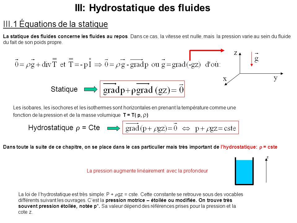III: Hydrostatique des fluides III.1 Équations de la statique La statique des fluides concerne les fluides au repos. Dans ce cas, la vitesse est nulle