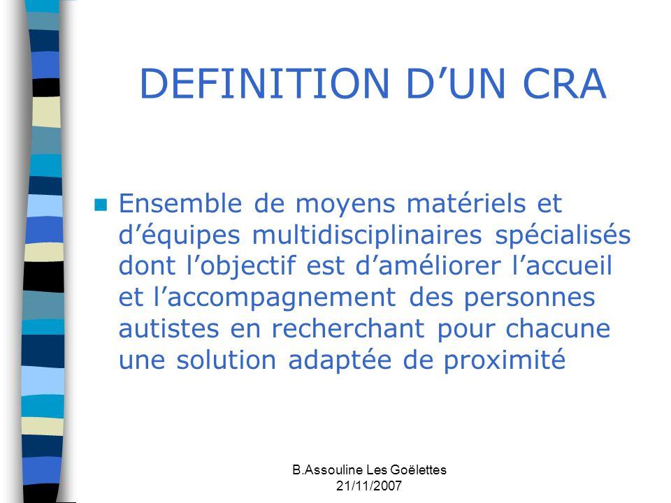 B.Assouline Les Goëlettes 21/11/2007 DEFINITION DUN CRA Ensemble de moyens matériels et déquipes multidisciplinaires spécialisés dont lobjectif est da