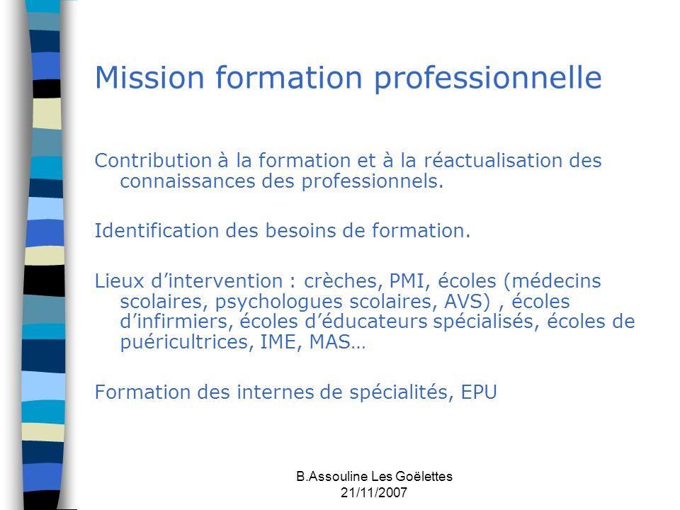 B.Assouline Les Goëlettes 21/11/2007 Mission formation professionnelle Contribution à la formation et à la réactualisation des connaissances des profe