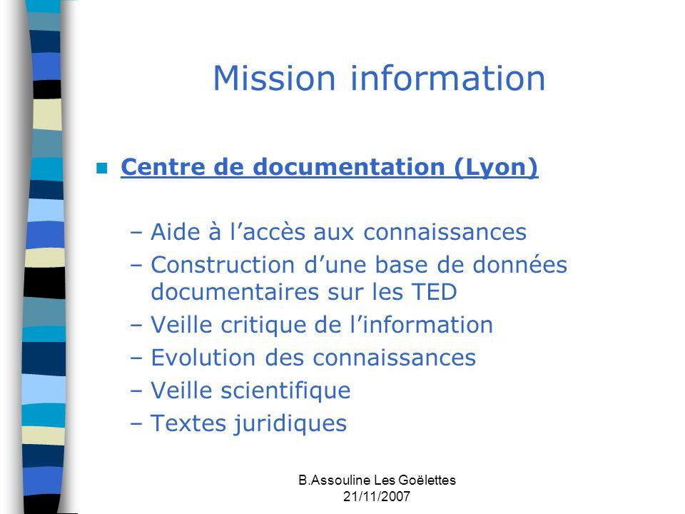 B.Assouline Les Goëlettes 21/11/2007 Mission information Centre de documentation (Lyon) –Aide à laccès aux connaissances –Construction dune base de do