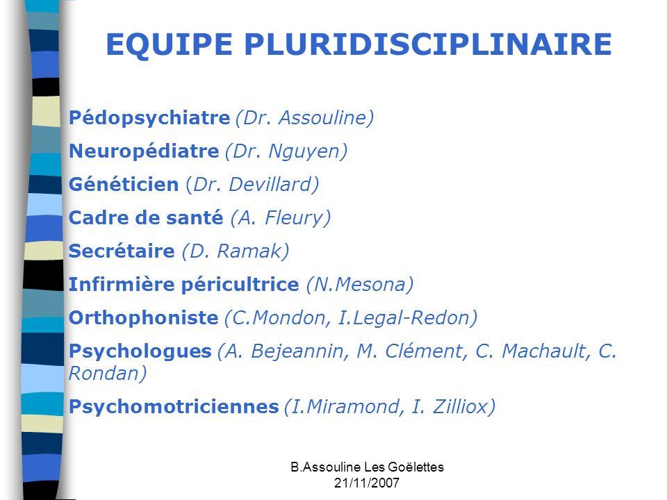 B.Assouline Les Goëlettes 21/11/2007 EQUIPE PLURIDISCIPLINAIRE Pédopsychiatre (Dr. Assouline) Neuropédiatre (Dr. Nguyen) Généticien (Dr. Devillard) Ca