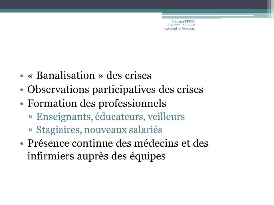 « Banalisation » des crises Observations participatives des crises Formation des professionnels Enseignants, éducateurs, veilleurs Stagiaires, nouveau