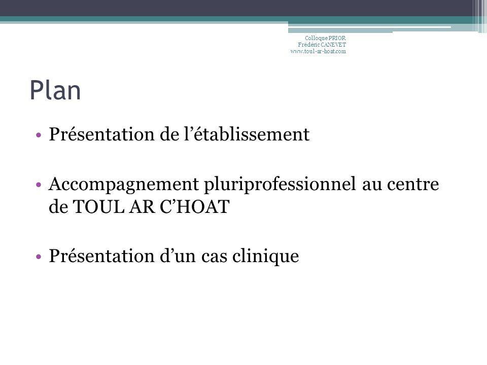 Plan Présentation de létablissement Accompagnement pluriprofessionnel au centre de TOUL AR CHOAT Présentation dun cas clinique Colloque PRIOR Frédéric
