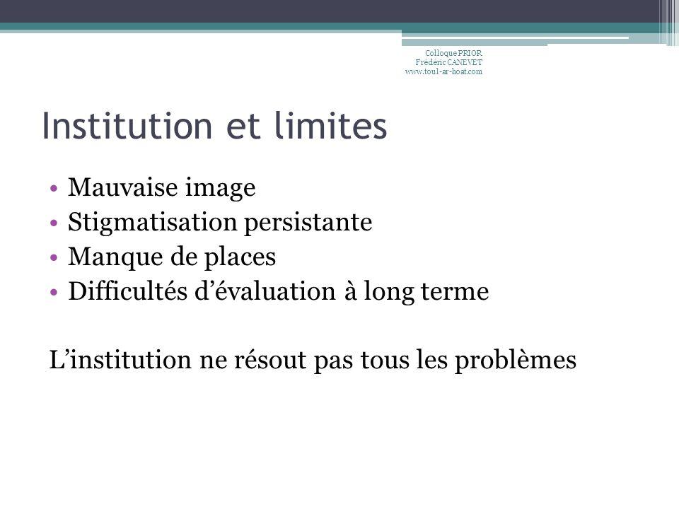Institution et limites Mauvaise image Stigmatisation persistante Manque de places Difficultés dévaluation à long terme Linstitution ne résout pas tous