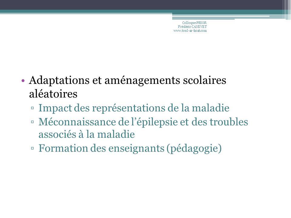 Adaptations et aménagements scolaires aléatoires Impact des représentations de la maladie Méconnaissance de lépilepsie et des troubles associés à la m