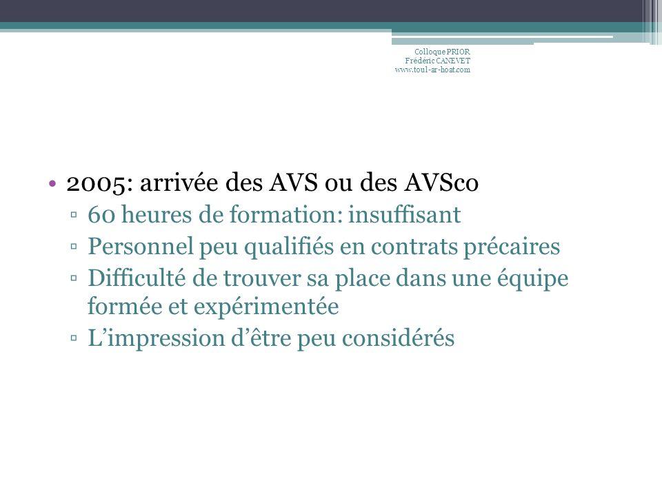 2005: arrivée des AVS ou des AVSco 60 heures de formation: insuffisant Personnel peu qualifiés en contrats précaires Difficulté de trouver sa place da