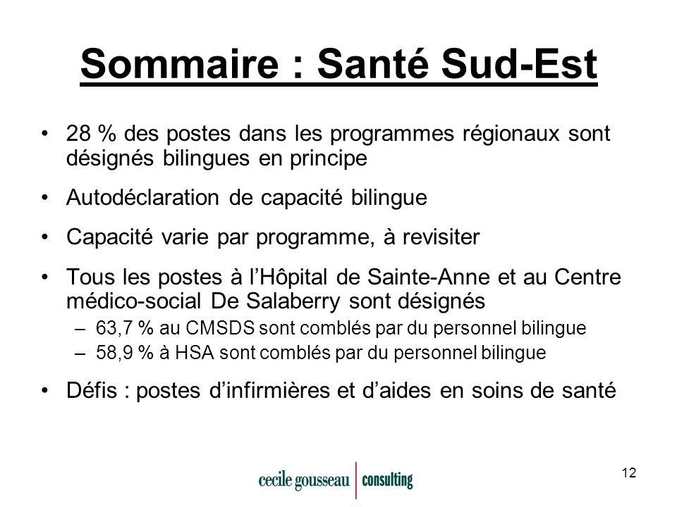 12 Sommaire : Santé Sud-Est 28 % des postes dans les programmes régionaux sont désignés bilingues en principe Autodéclaration de capacité bilingue Cap