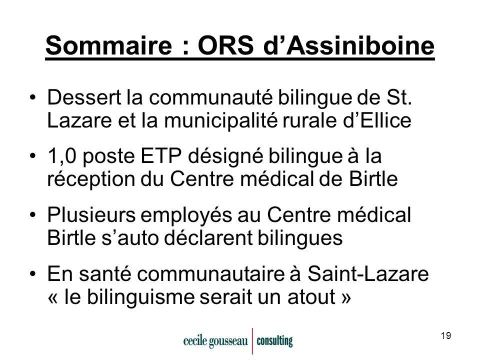 19 Sommaire : ORS dAssiniboine Dessert la communauté bilingue de St. Lazare et la municipalité rurale dEllice 1,0 poste ETP désigné bilingue à la réce
