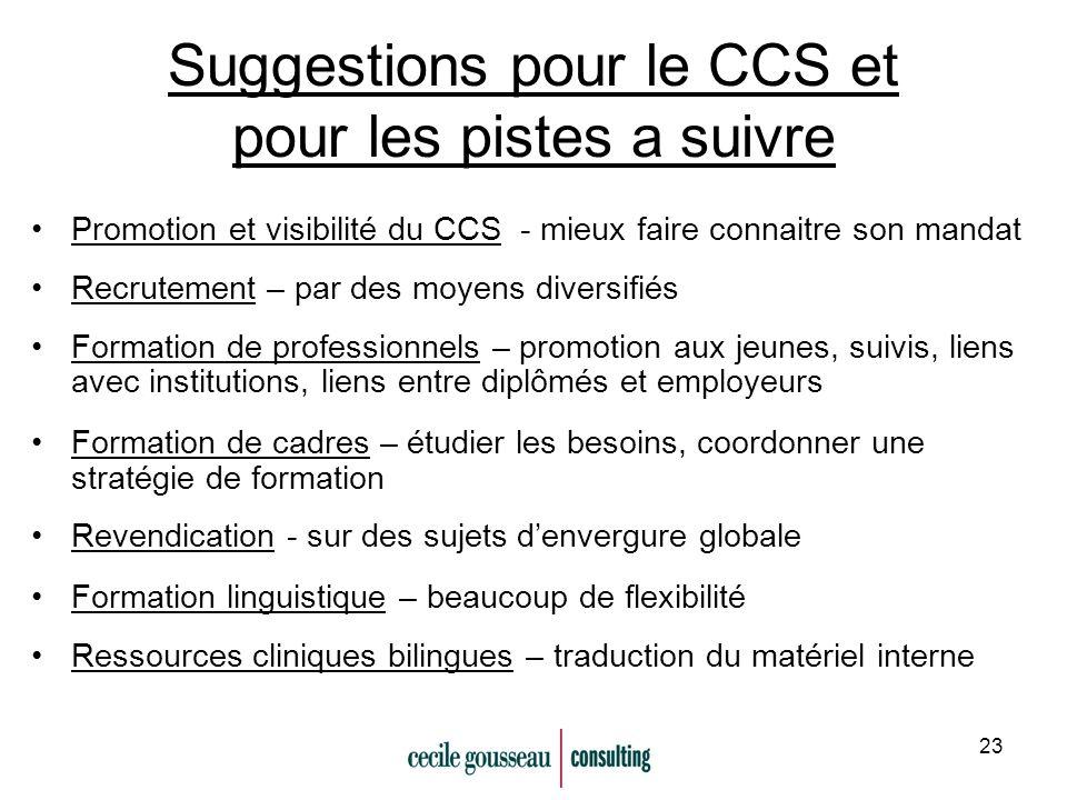 23 Suggestions pour le CCS et pour les pistes a suivre Promotion et visibilité du CCS - mieux faire connaitre son mandat Recrutement – par des moyens