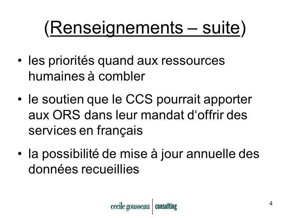 4 (Renseignements – suite) les priorités quand aux ressources humaines à combler le soutien que le CCS pourrait apporter aux ORS dans leur mandat doffrir des services en français la possibilité de mise à jour annuelle des données recueillies
