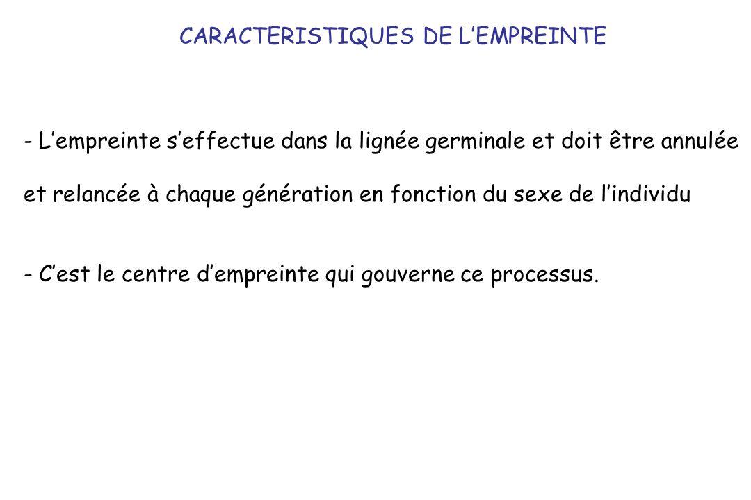 CARACTERISTIQUES DE LEMPREINTE - Lempreinte seffectue dans la lignée germinale et doit être annulée et relancée à chaque génération en fonction du sexe de lindividu - Cest le centre dempreinte qui gouverne ce processus.