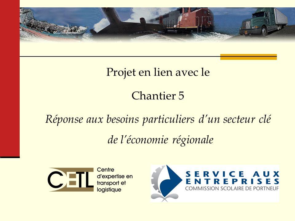 Centre dexpertise en transport et logistique ( CETL ) Projet en lien avec le Chantier 5 Réponse aux besoins particuliers dun secteur clé de léconomie