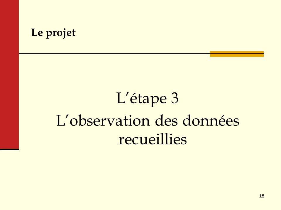 Le projet Létape 3 Lobservation des données recueillies 18