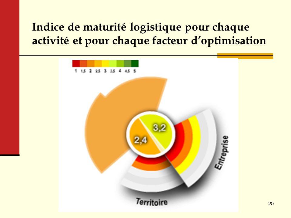 Indice de maturité logistique pour chaque activité et pour chaque facteur doptimisation 25