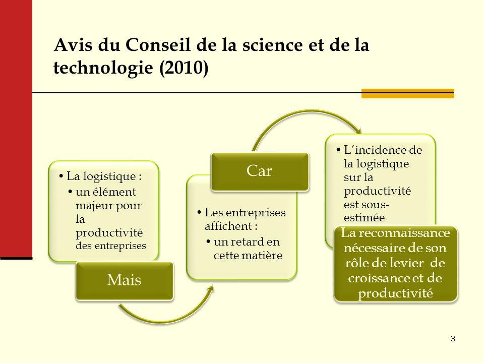 Avis du Conseil de la science et de la technologie (2010) La logistique : un élément majeur pour la productivité des entreprises Mais Les entreprises