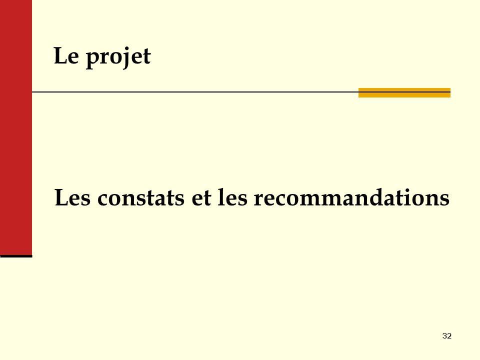 Le projet Les constats et les recommandations 32