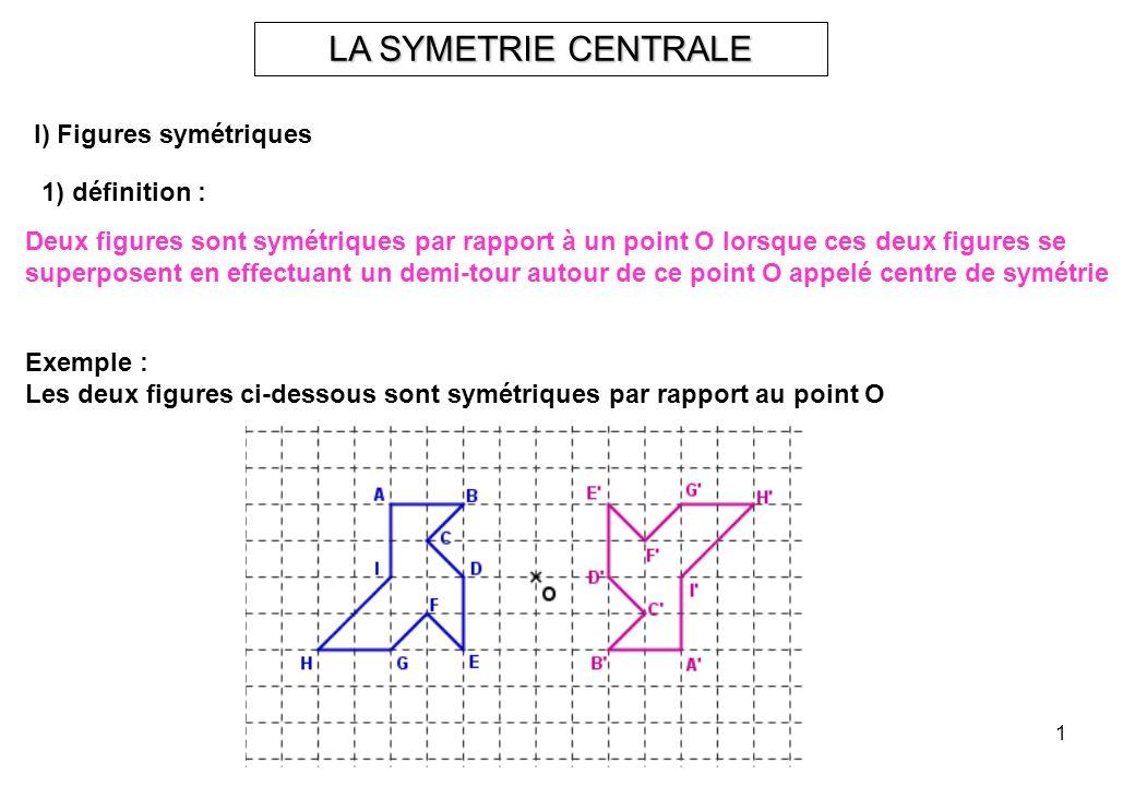 1 LA SYMETRIE CENTRALE I) Figures symétriques 1) définition : Deux figures sont symétriques par rapport à un point O lorsque ces deux figures se super