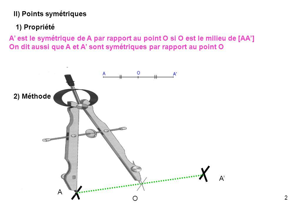 2 II) Points symétriques 1) Propriété A est le symétrique de A par rapport au point O si O est le milieu de [AA] On dit aussi que A et A sont symétriq