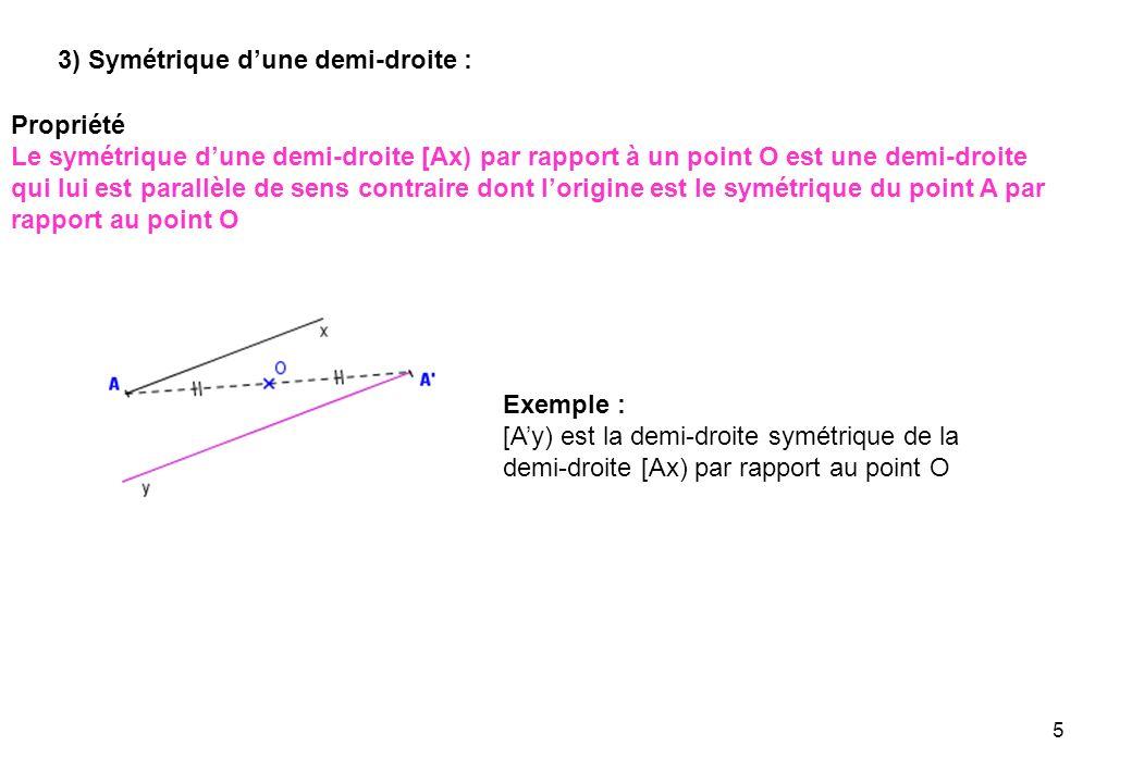 5 3) Symétrique dune demi-droite : Propriété Le symétrique dune demi-droite [Ax) par rapport à un point O est une demi-droite qui lui est parallèle de