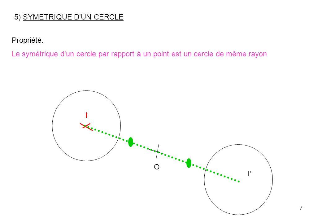 7 5) SYMETRIQUE DUN CERCLE O I I Propriété: Le symétrique dun cercle par rapport à un point est un cercle de même rayon