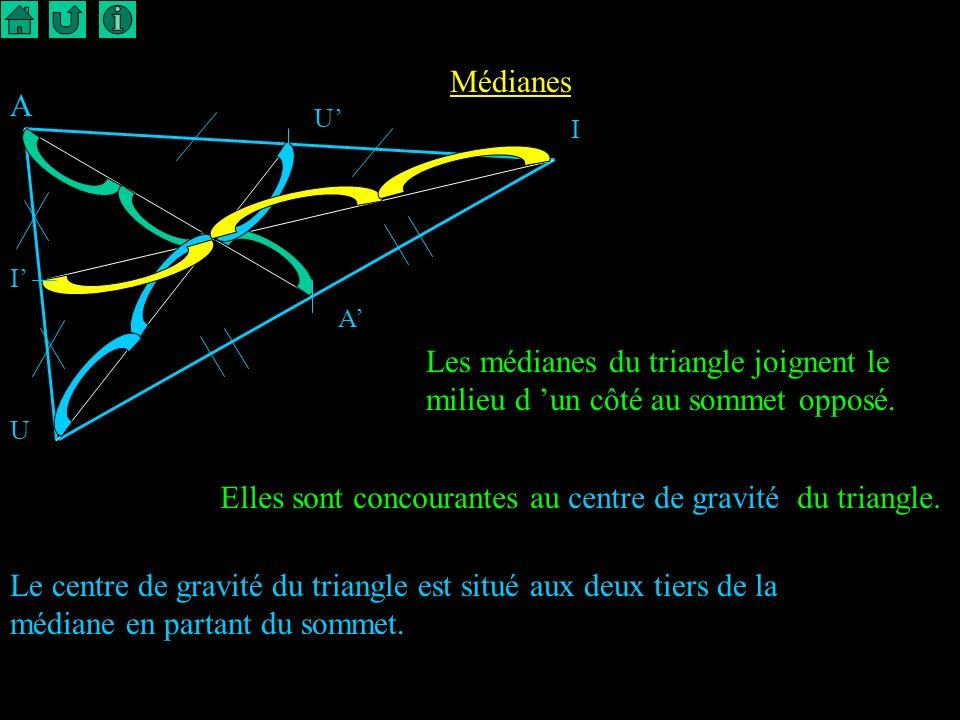 3 Indications 1) Dessiner un triangle et son centre de gravité. 2) Quelle position occupe le centre de gravité sur chaque médiane ?