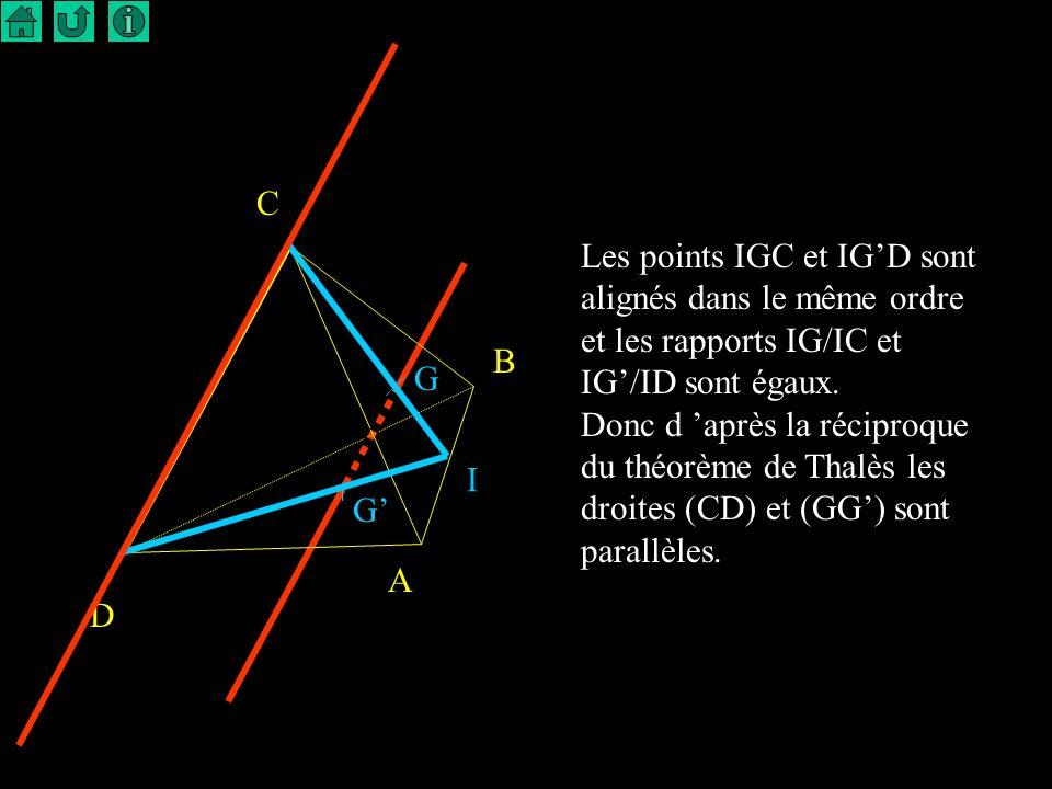 5 B D C G A I Soit G le centre de gravité du triangle ABC. on sait que G est situé aux deux tiers de chaque médiane en partant du sommet donc IG/ IC =