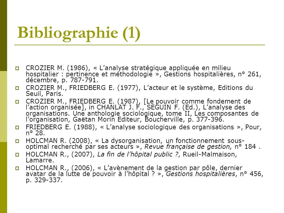 Bibliographie (1) CROZIER M. (1986), « Lanalyse stratégique appliquée en milieu hospitalier : pertinence et méthodologie », Gestions hospitalières, n°