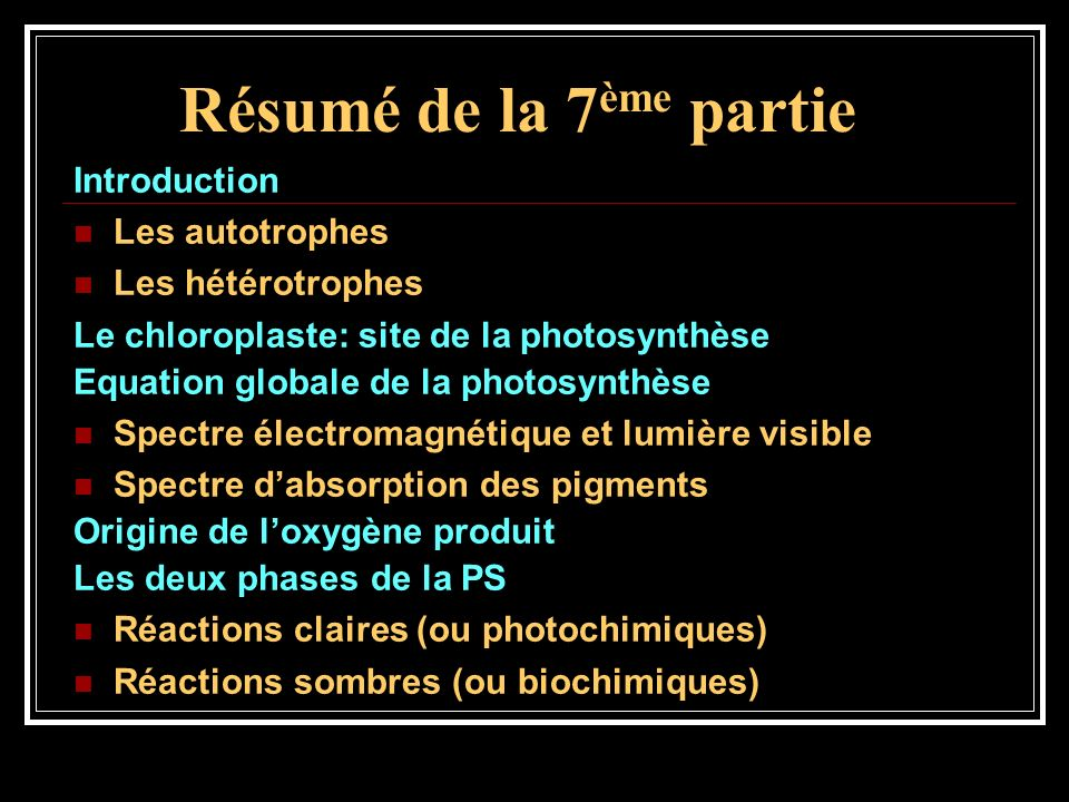 Résumé de la 7 ème partie Introduction Les autotrophes Les hétérotrophes Le chloroplaste: site de la photosynthèse Equation globale de la photosynthès