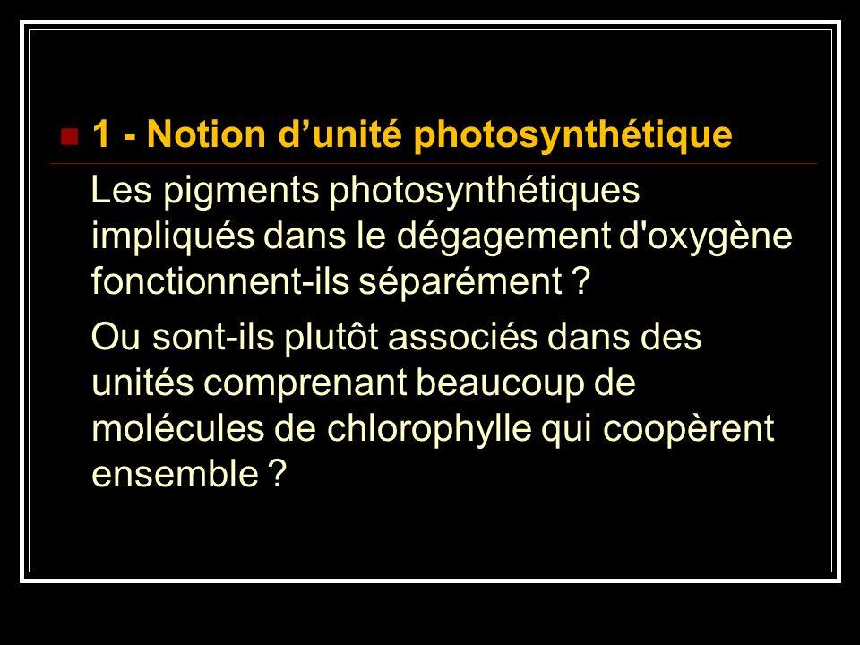 1 - Notion dunité photosynthétique Les pigments photosynthétiques impliqués dans le dégagement d'oxygène fonctionnent-ils séparément ? Ou sont-ils plu