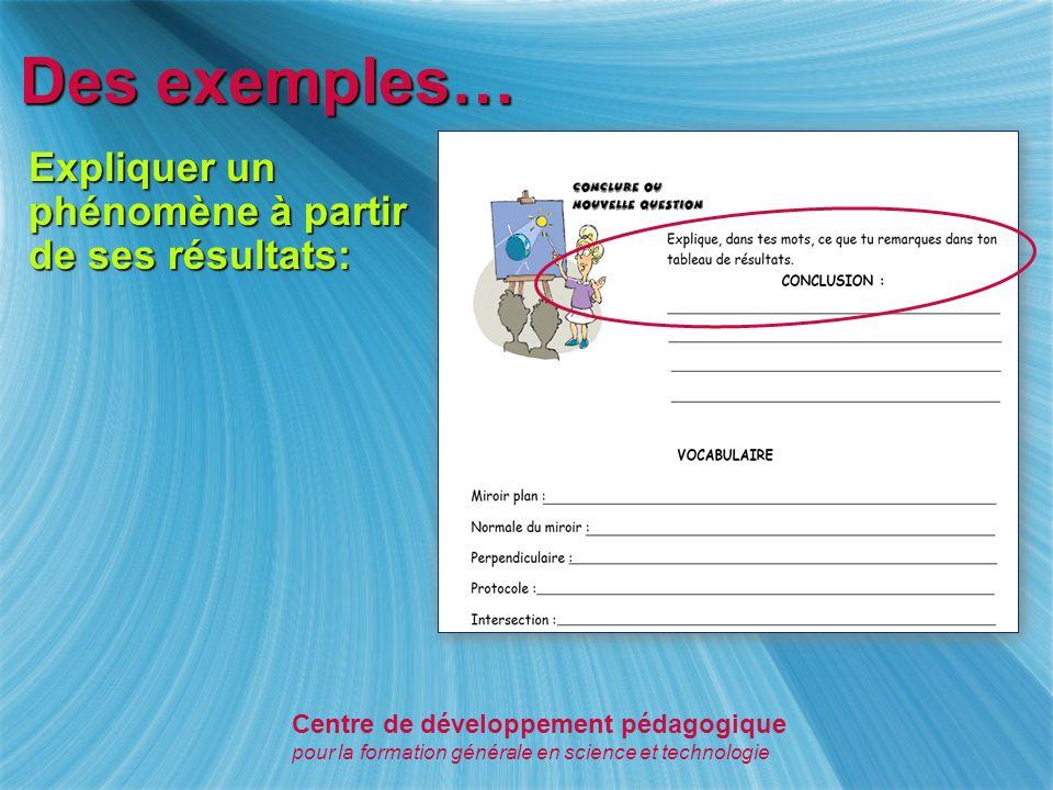 Des exemples… Activer des connaissances antérieures et formuler une hypothèse: Centre de développement pédagogique pour la formation générale en science et technologie