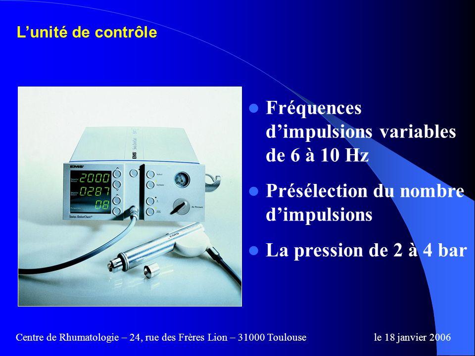Centre de Rhumatologie – 24, rue des Frères Lion – 31000 Toulousele 18 janvier 2006 Lappareil