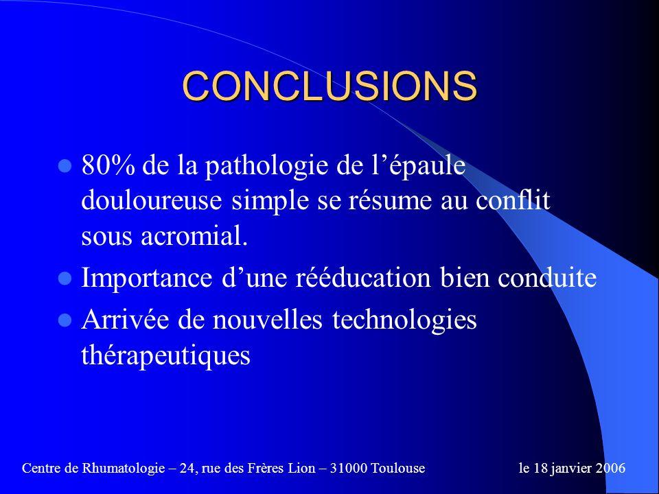 Centre de Rhumatologie – 24, rue des Frères Lion – 31000 Toulousele 18 janvier 2006 Traitement efficace Traitement sécurisé (faible niveau dénergie) T