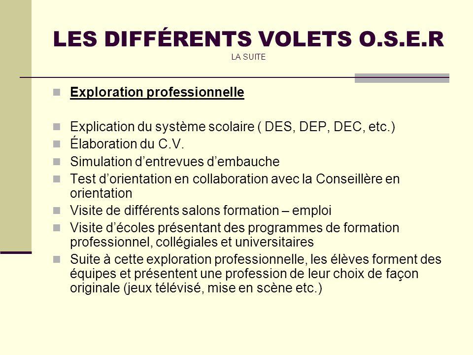 LES DIFFÉRENTS VOLETS O.S.E.R LA SUITE Exploration professionnelle Explication du système scolaire ( DES, DEP, DEC, etc.) Élaboration du C.V.