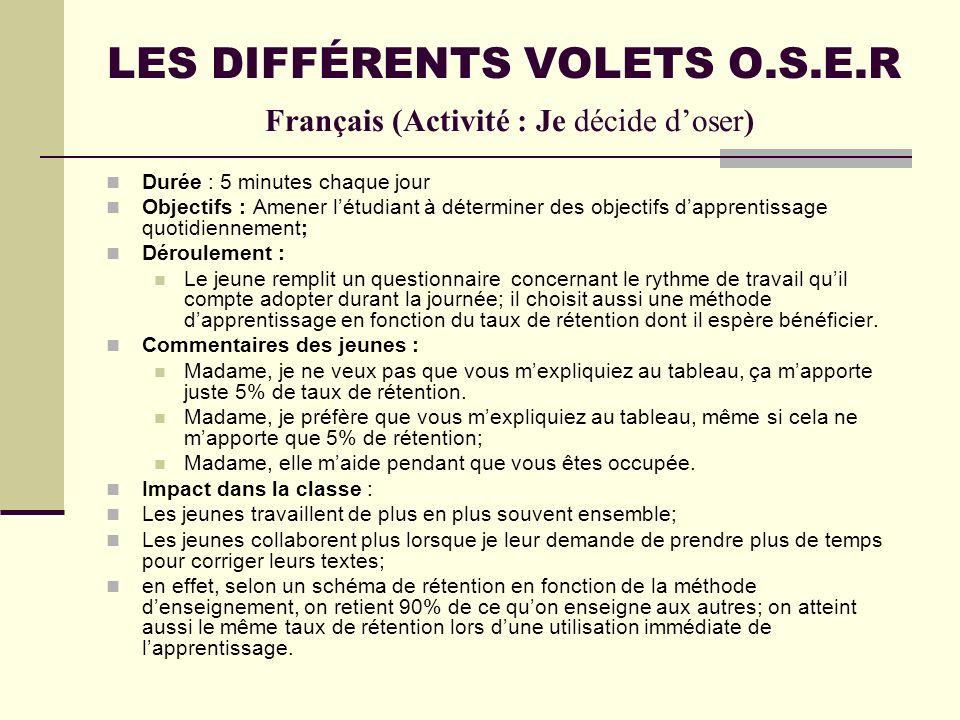 LES DIFFÉRENTS VOLETS O.S.E.R Français (Activité : Je décide doser) Durée : 5 minutes chaque jour Objectifs : Amener létudiant à déterminer des object
