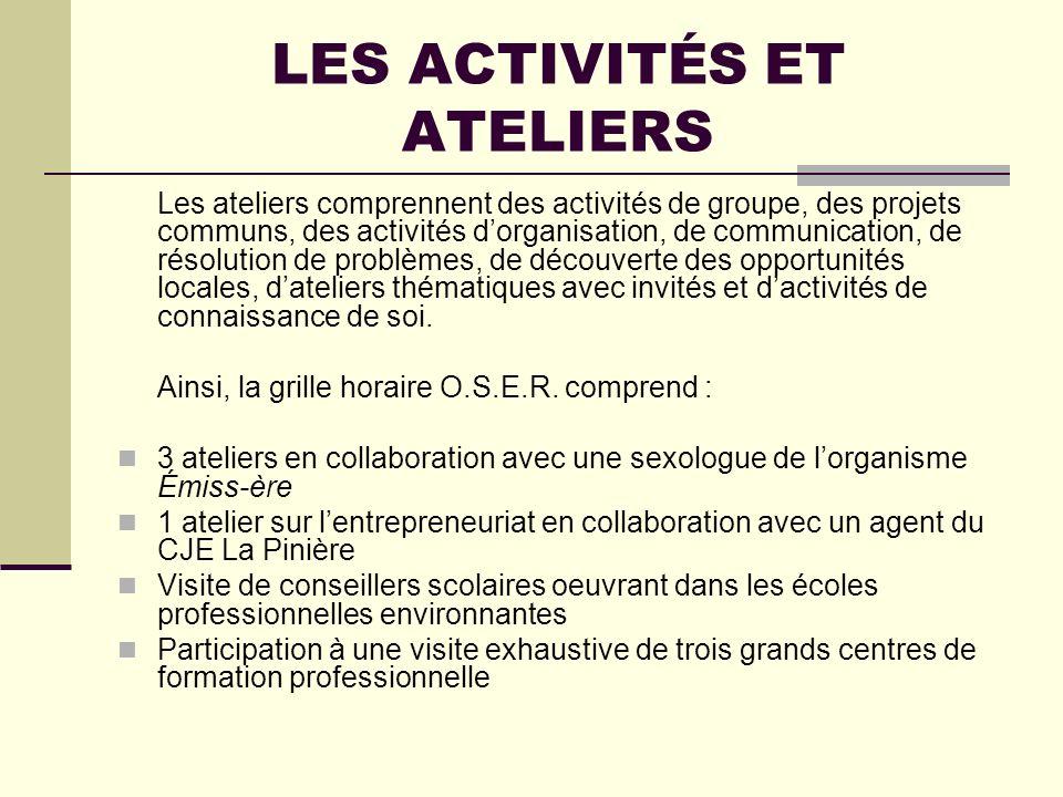 LES ACTIVITÉS ET ATELIERS Les ateliers comprennent des activités de groupe, des projets communs, des activités dorganisation, de communication, de rés