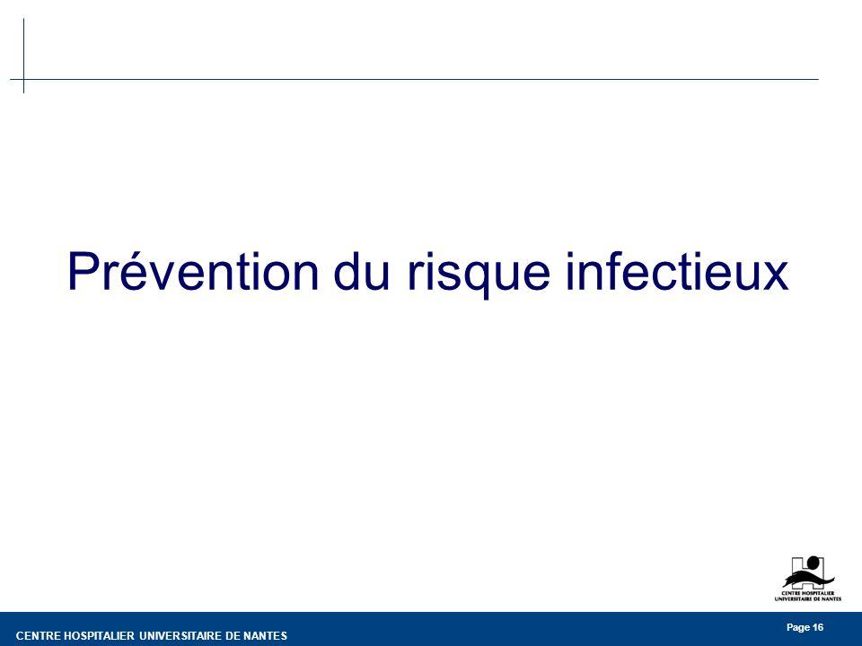 CENTRE HOSPITALIER UNIVERSITAIRE DE NANTES Page 16 Prévention du risque infectieux