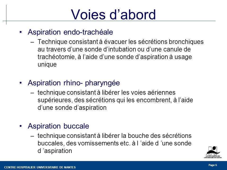 CENTRE HOSPITALIER UNIVERSITAIRE DE NANTES Page 5 Voies dabord Aspiration endo-trachéale –Technique consistant à évacuer les sécrétions bronchiques au travers dune sonde dintubation ou dune canule de trachéotomie, à laide dune sonde daspiration à usage unique Aspiration rhino- pharyngée –technique consistant à libérer les voies aériennes supérieures, des sécrétions qui les encombrent, à laide dune sonde daspiration Aspiration buccale –technique consistant à libérer la bouche des sécrétions buccales, des vomissements etc.