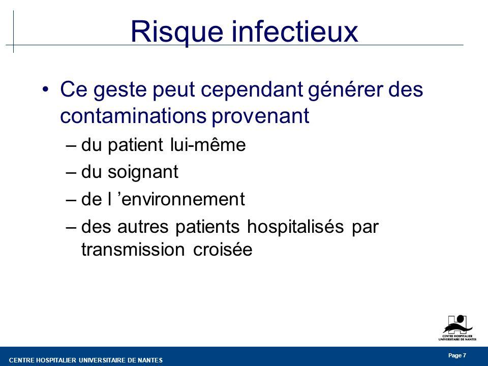 CENTRE HOSPITALIER UNIVERSITAIRE DE NANTES Page 7 Risque infectieux Ce geste peut cependant générer des contaminations provenant –du patient lui-même –du soignant –de l environnement –des autres patients hospitalisés par transmission croisée
