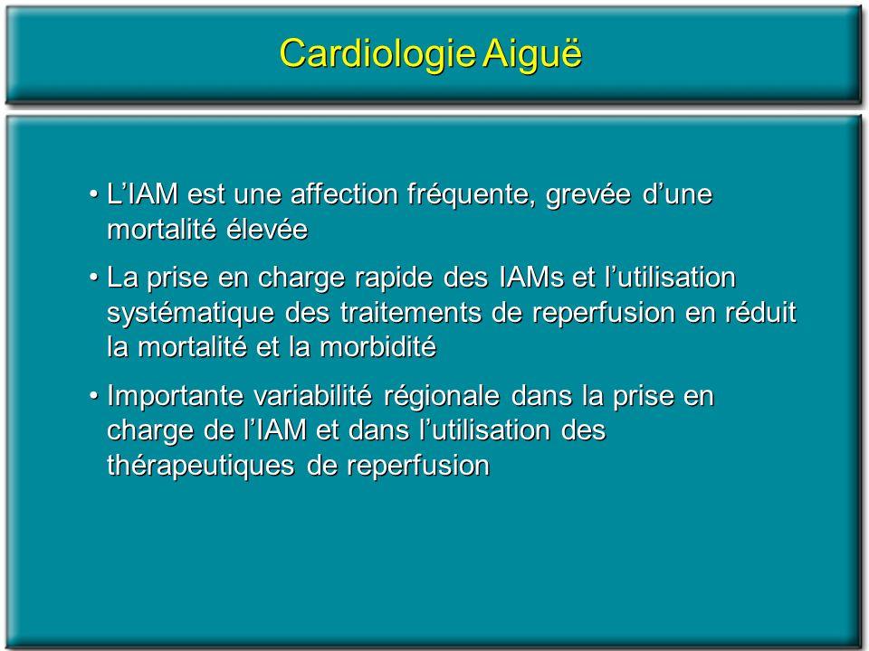 Cardiologie Aiguë LIAM est une affection fréquente, grevée dune mortalité élevée La prise en charge rapide des IAMs et lutilisation systématique des t