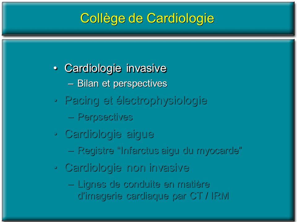 Cardiologie invasiveCardiologie invasive –Bilan et perspectives Pacing et électrophysiologie –Perpsectives Cardiologie aigue –Registre Infarctus aigu