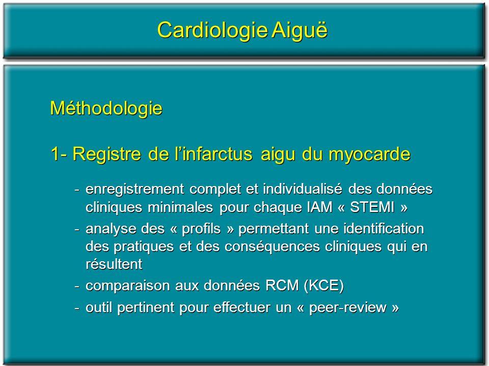 Cardiologie Aiguë Méthodologie 1- Registre de linfarctus aigu du myocarde -enregistrement complet et individualisé des données cliniques minimales pou