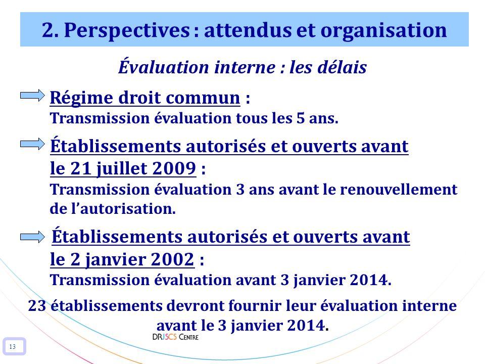 13 2. Perspectives : attendus et organisation Évaluation interne : les délais Régime droit commun : Transmission évaluation tous les 5 ans. Établissem