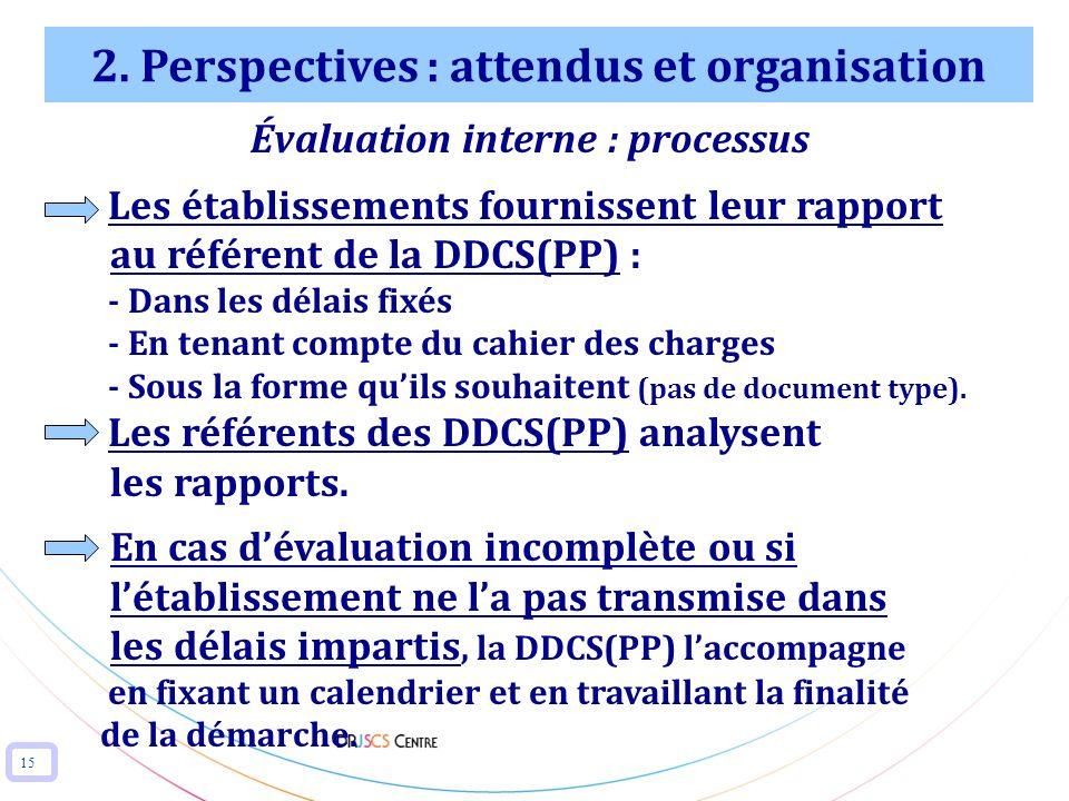 15 2. Perspectives : attendus et organisation Évaluation interne : processus Les établissements fournissent leur rapport au référent de la DDCS(PP) :