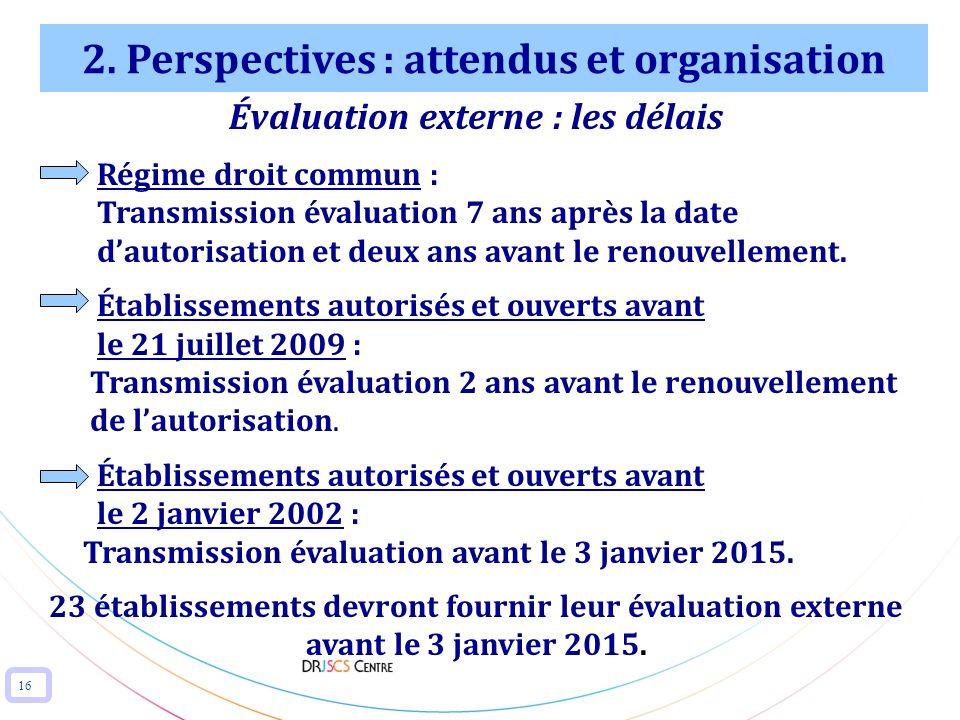 16 2. Perspectives : attendus et organisation Évaluation externe : les délais Régime droit commun : Transmission évaluation 7 ans après la date dautor
