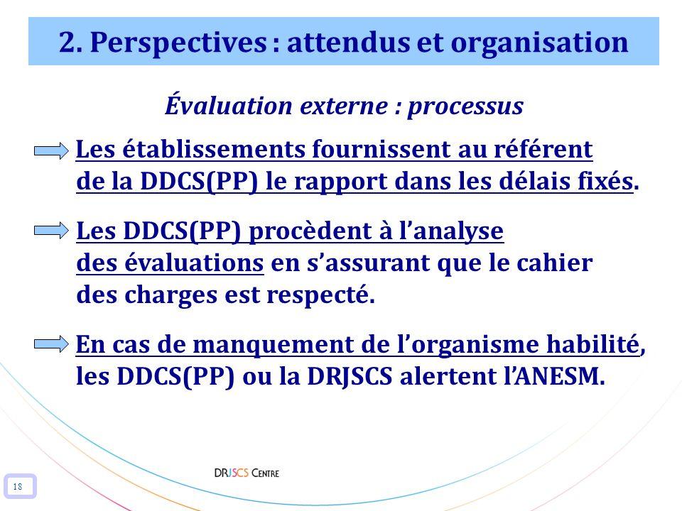 18 2. Perspectives : attendus et organisation Évaluation externe : processus Les établissements fournissent au référent de la DDCS(PP) le rapport dans